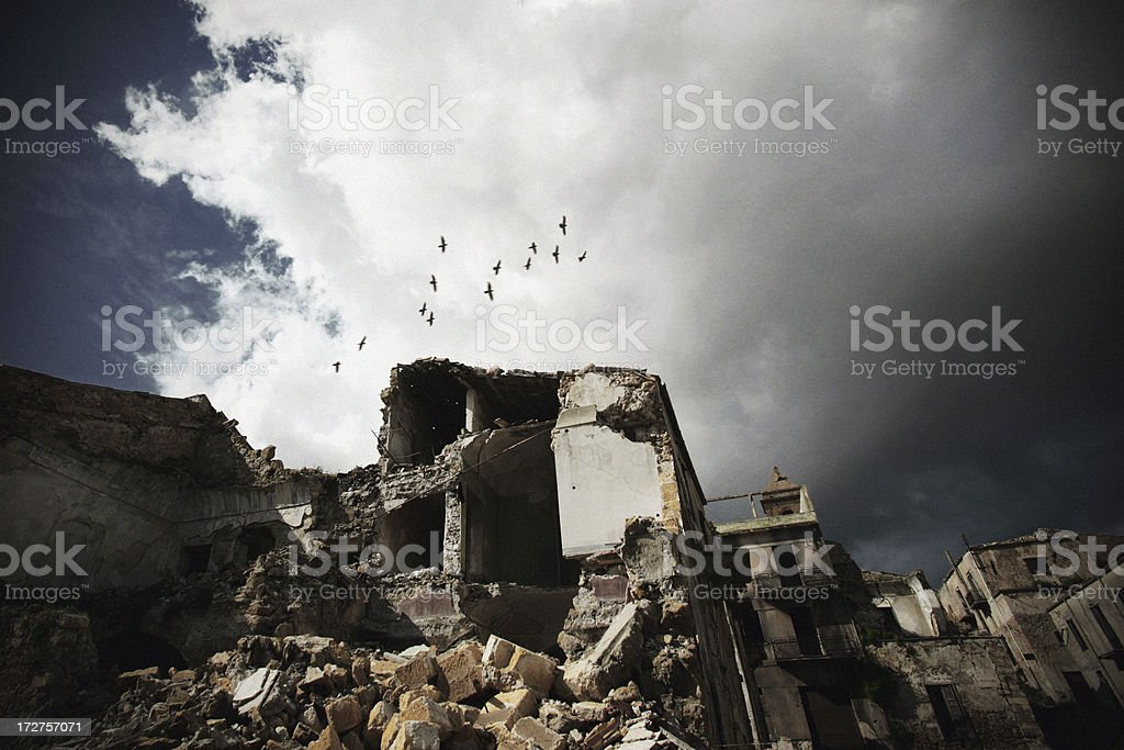 destroyed town royalty-free stock photo