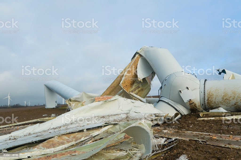 Destroyed wind turbine after a storm stock photo
