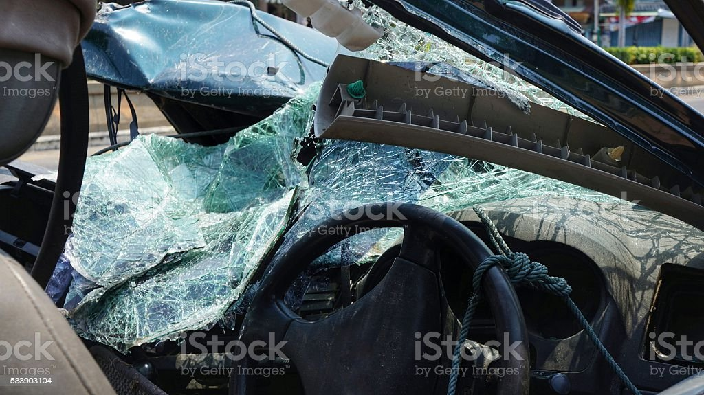 Destroyed Windshield Front Part Car stock photo