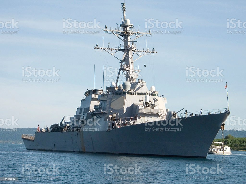 Destroyer anchored in harbour royalty-free stock photo