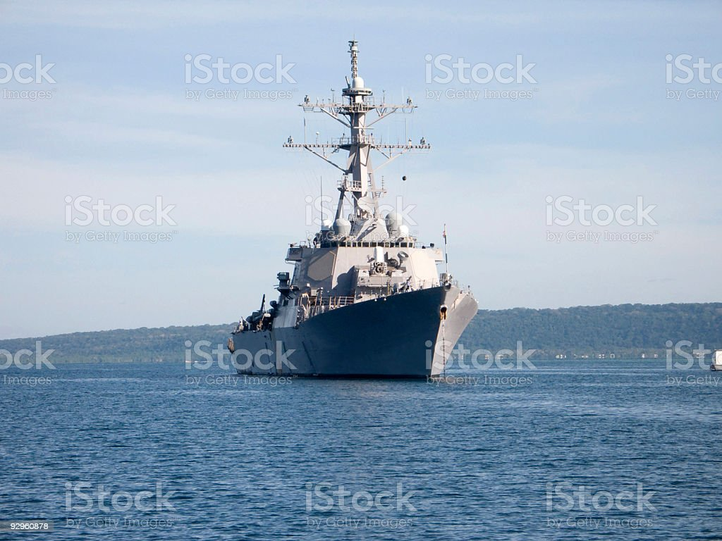Destroyer anchored in harbour stock photo