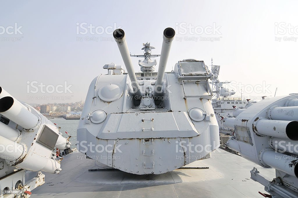 Destroyer artillery royalty-free stock photo