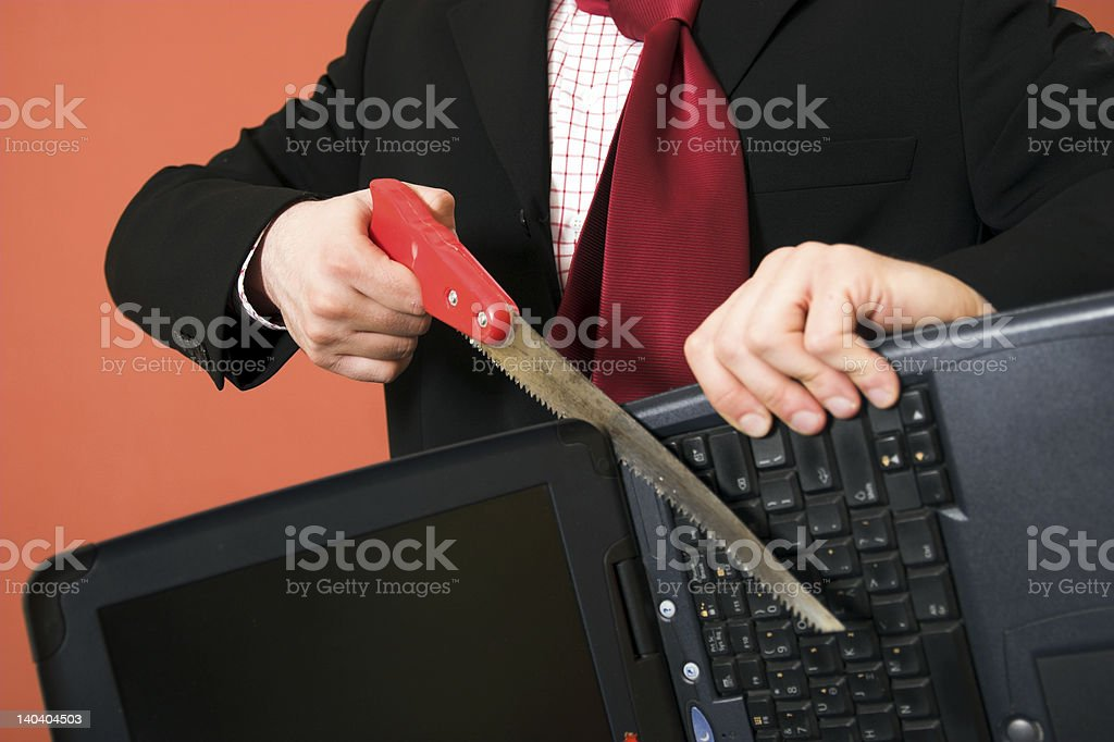 Destroying computer royalty-free stock photo