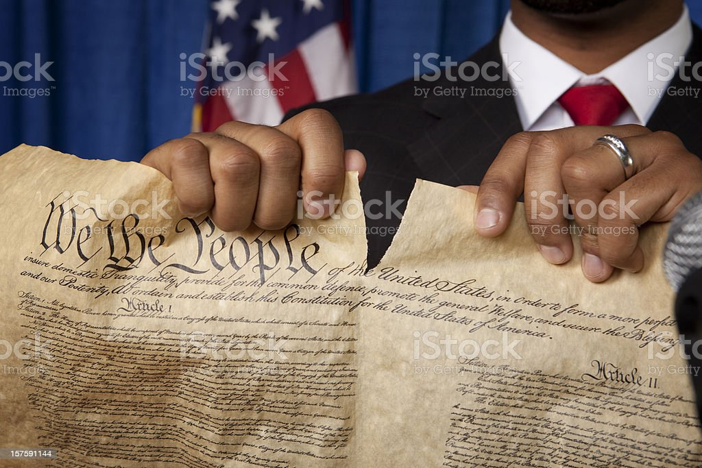 Destroying the Bill of Rights stock photo