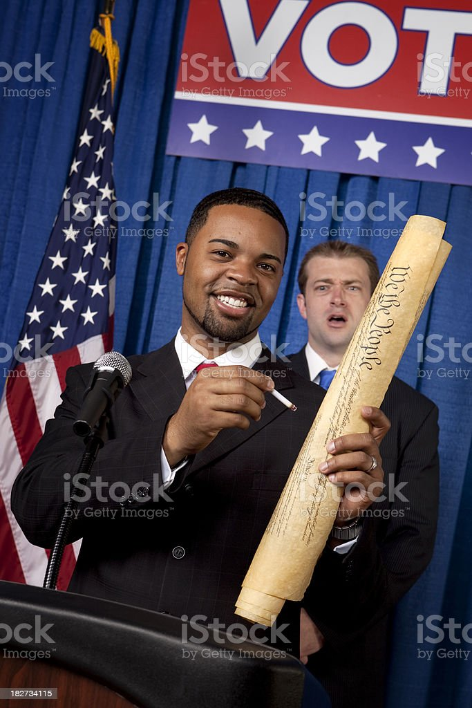 Destroying the Bill of Rights royalty-free stock photo