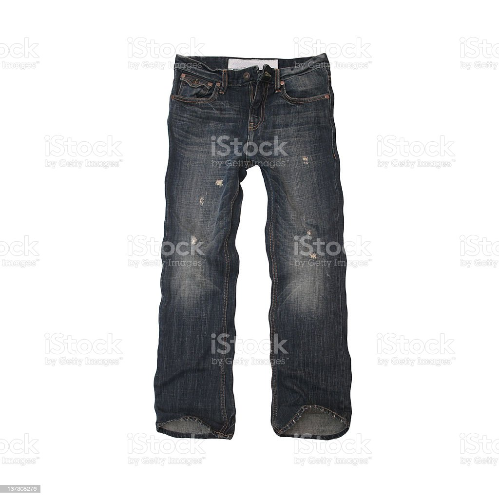 Destructed Jeans for Men - White Background royalty-free stock photo