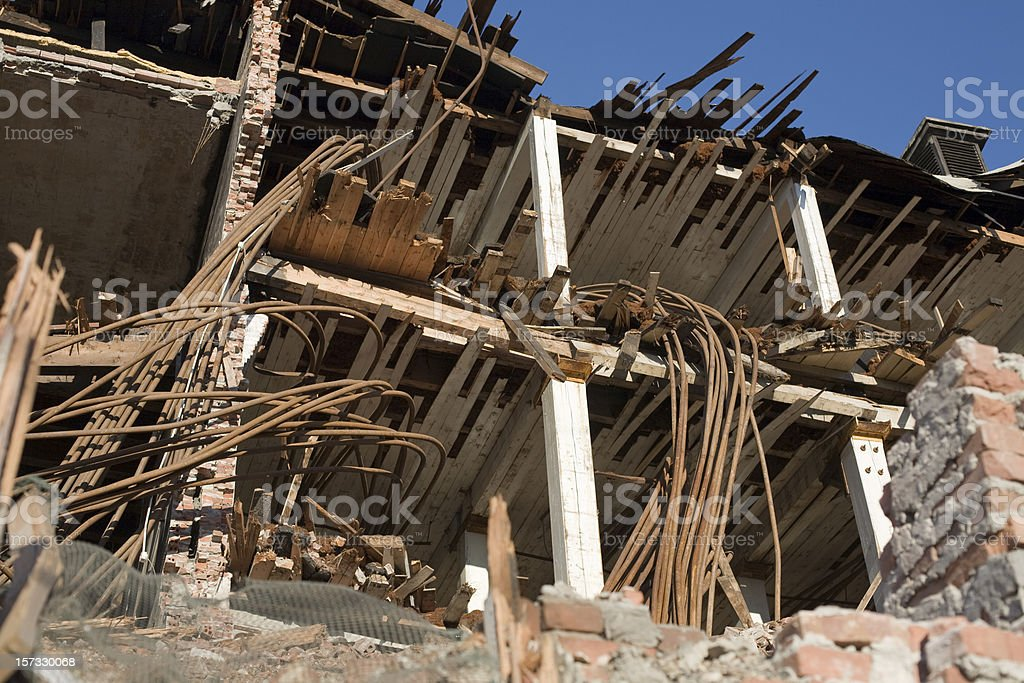 Destruction and aftermath of earthquake or natural disaster royalty-free stock photo
