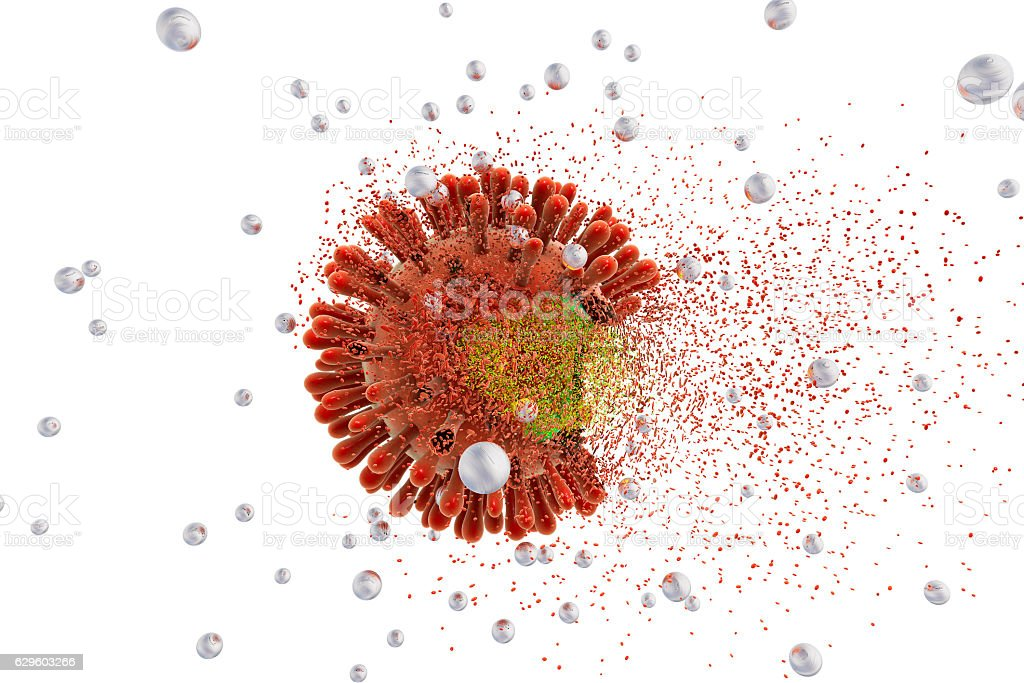 Destruction of HIV by nanoparticles vector art illustration