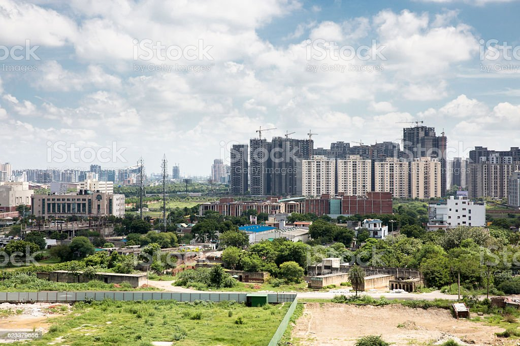 Destruction of nature and construction of New Urban Landscape stock photo