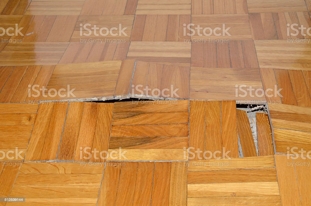Destruction of Parquet in Apartment stock photo