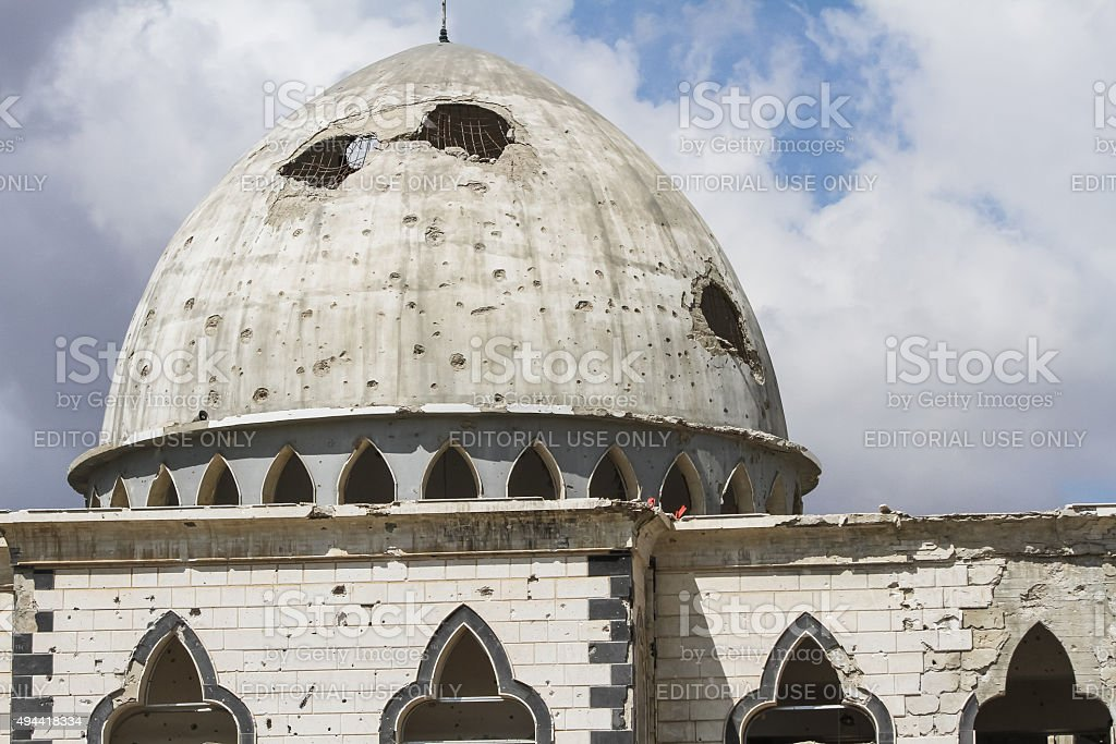 Destruction of the mosque in Homs stock photo
