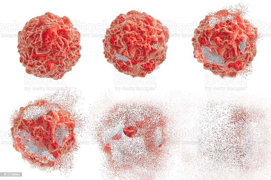 Destruction of tumor cell stock photo