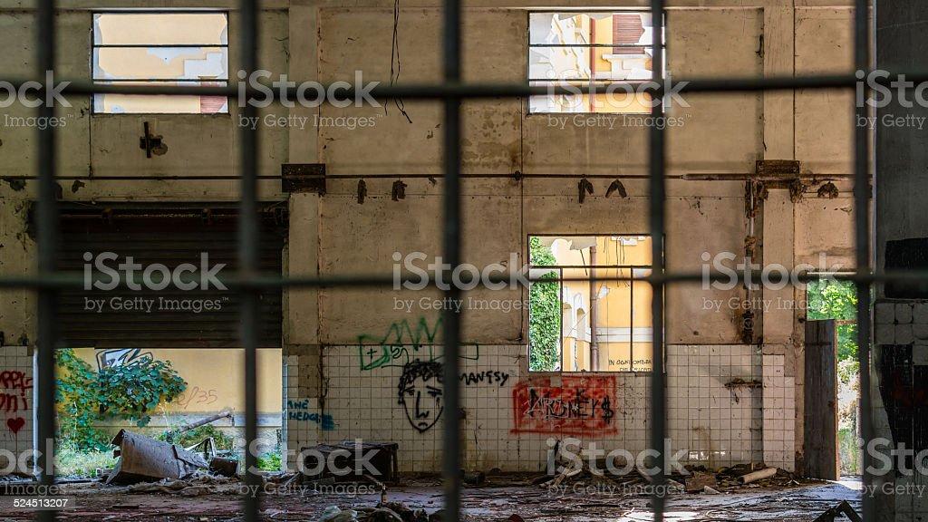 Destruction, old abandoned factory stock photo