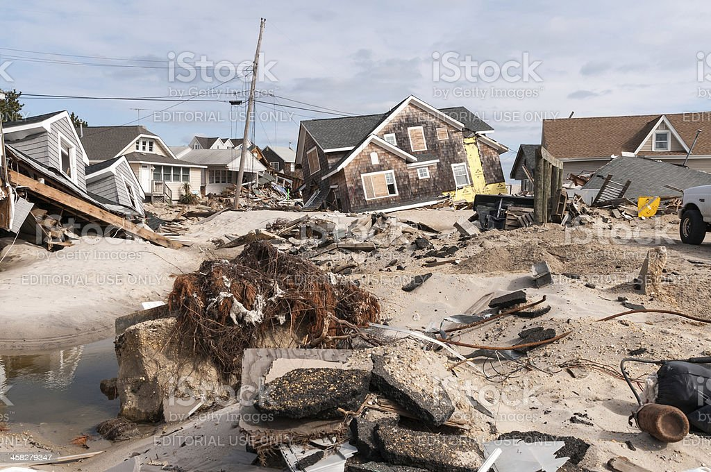 Destruction on the Jersey Shore stock photo