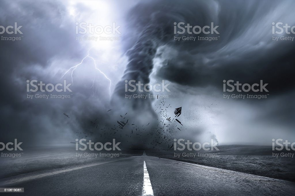 Destructive Powerful Tornado stock photo