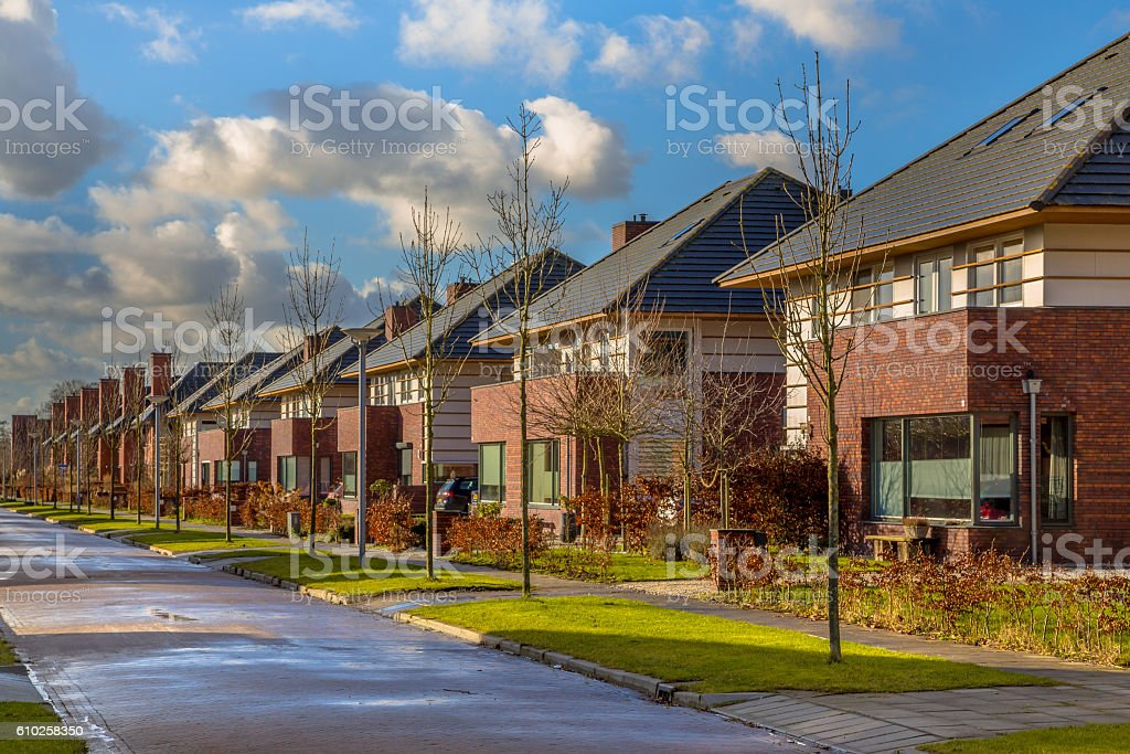 Detached family houses in a quiet street stock photo