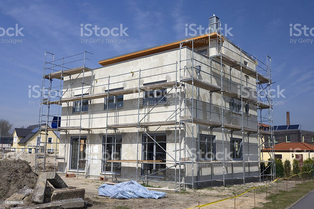Detached house - construction site stock photo