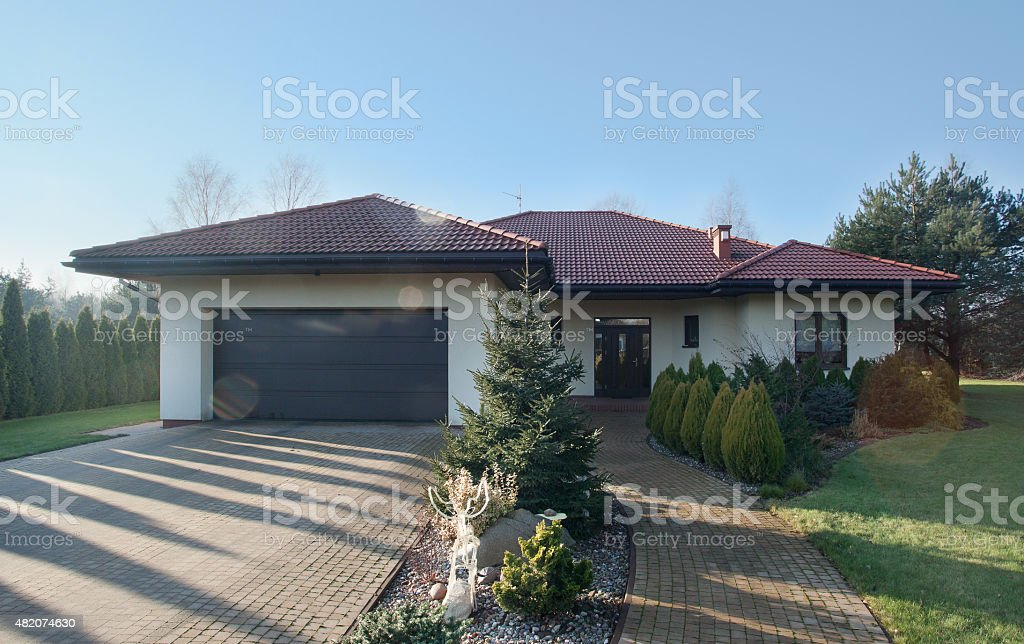 Detached house with garden stock photo