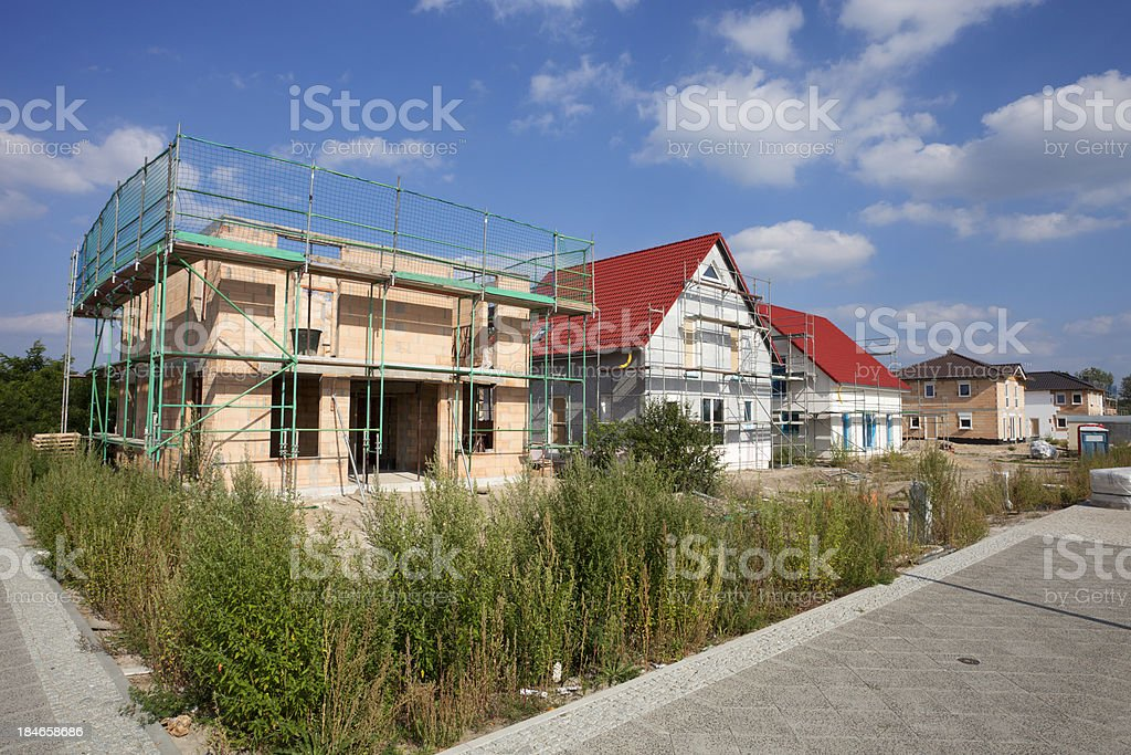 Detached houses - construction site royalty-free stock photo