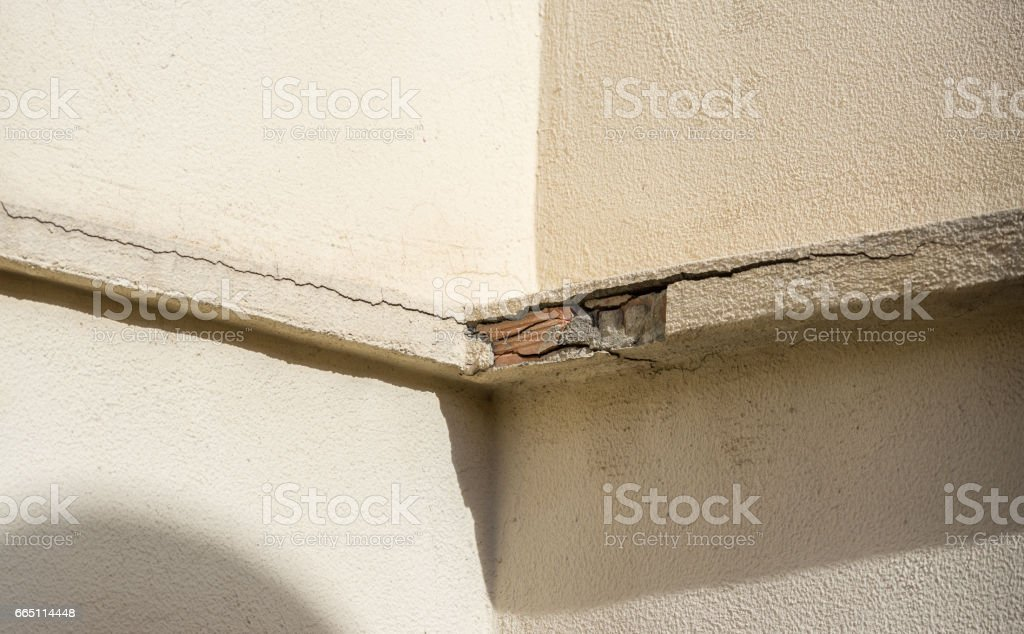 Detachment of exterior building cornice stock photo
