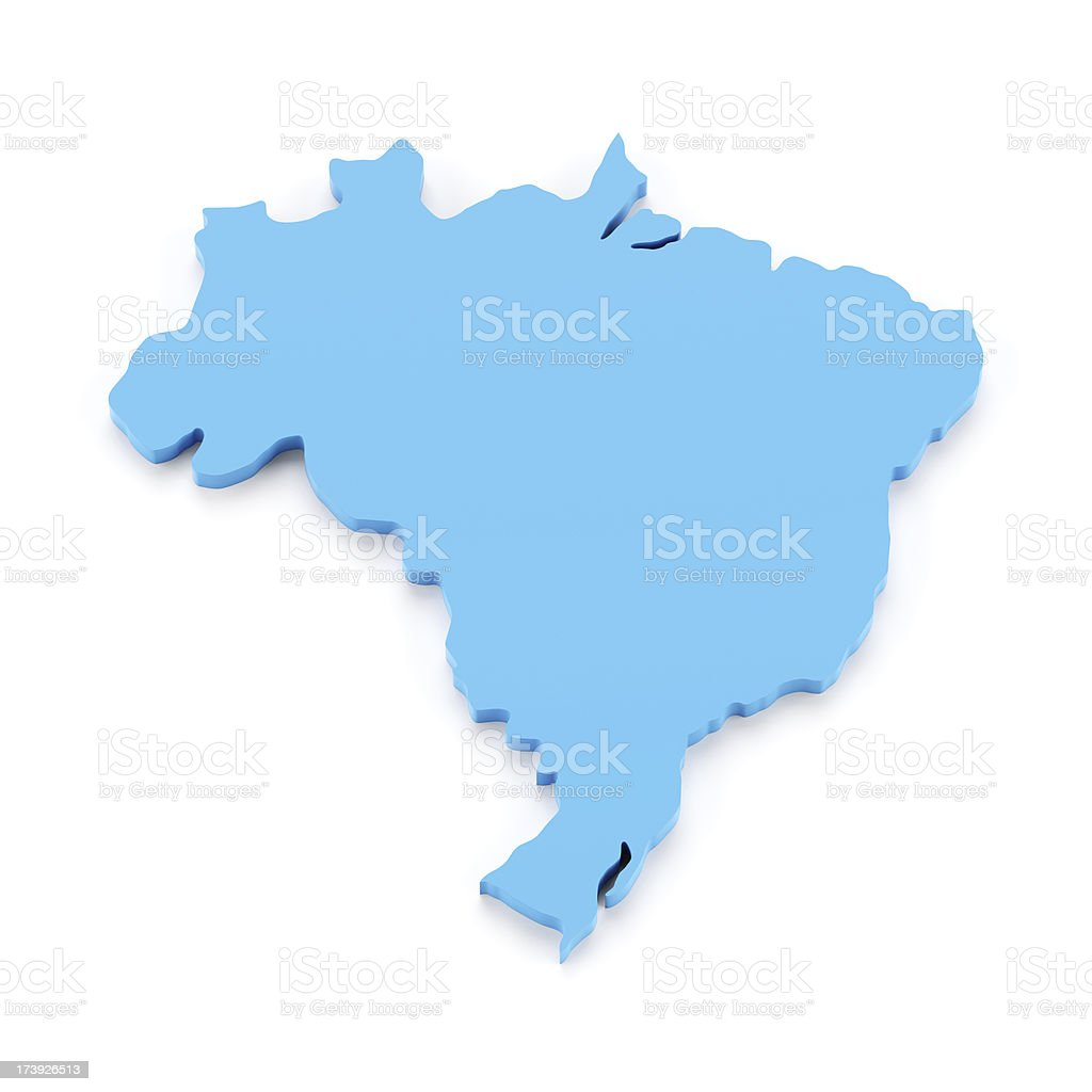 Detail 3d map of Brazil royalty-free stock photo