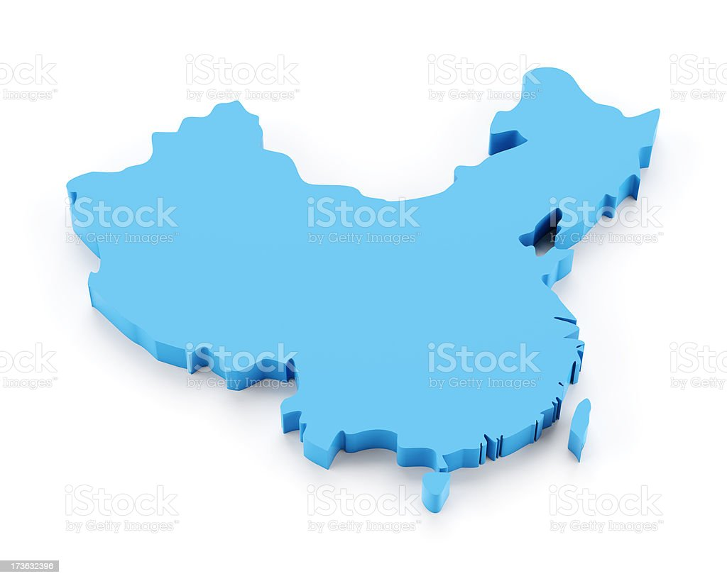 Detail 3d map of China isolated on white stock photo