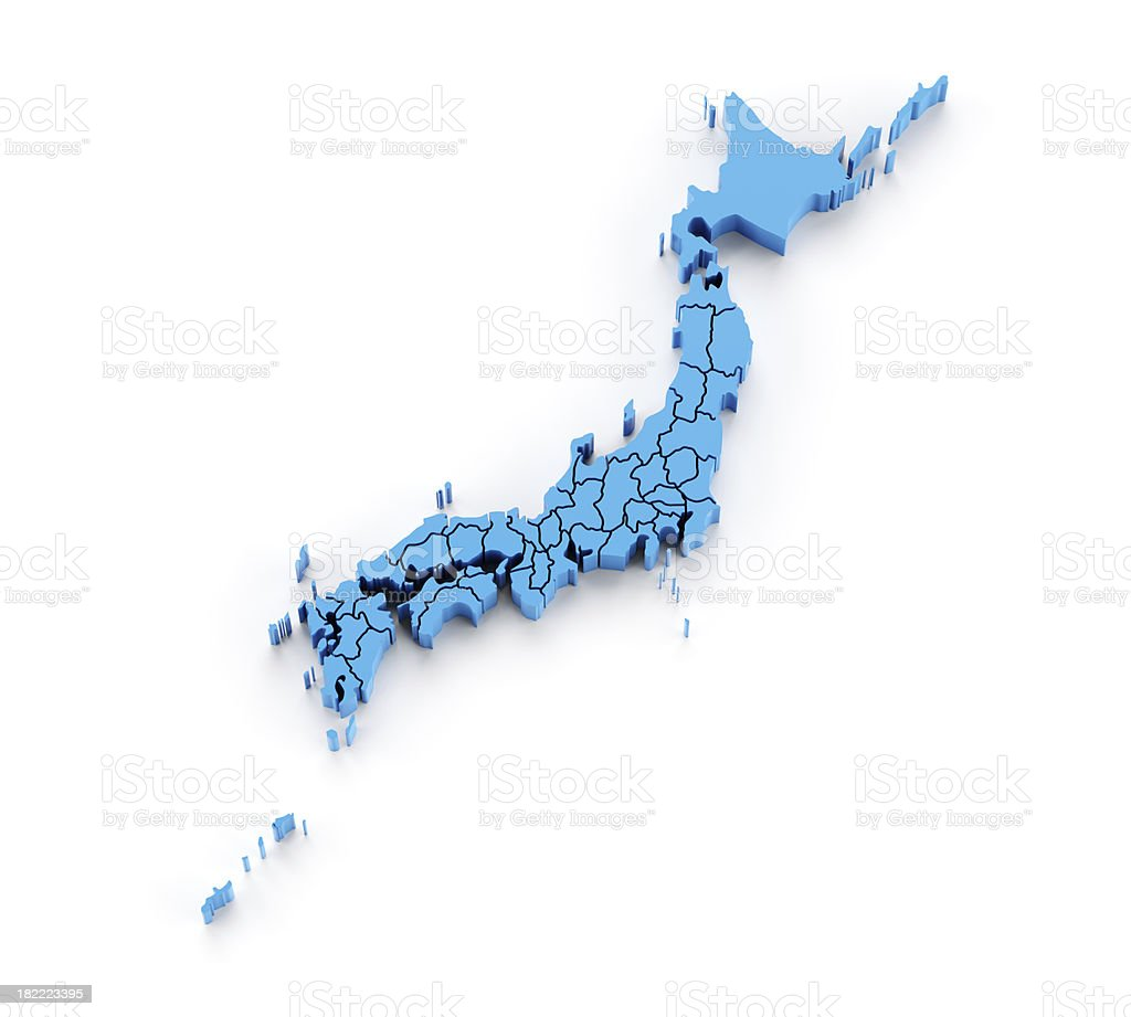 Detail 3d map of Japan with provinces in separate pieces stock photo