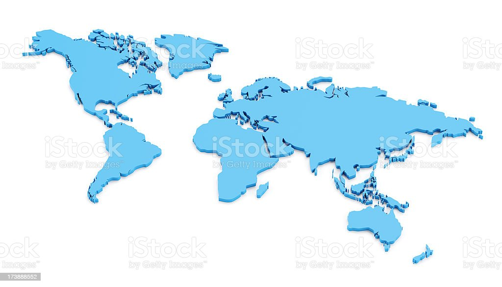 Detail 3d world map isolated on white royalty-free stock photo