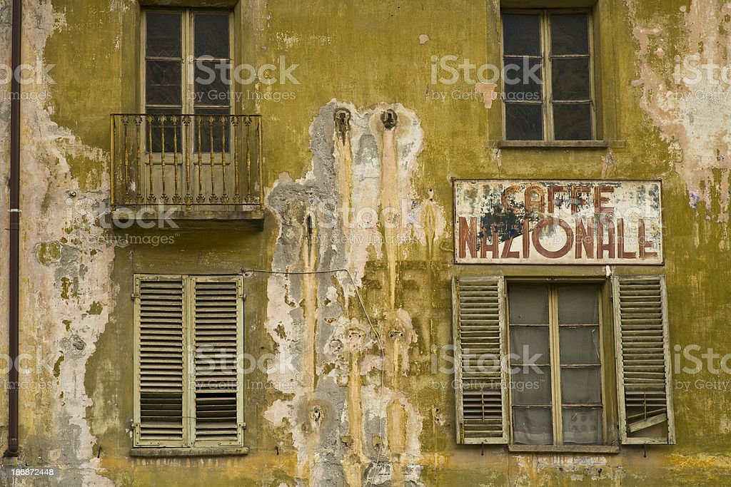 Detail a facade of old house stock photo