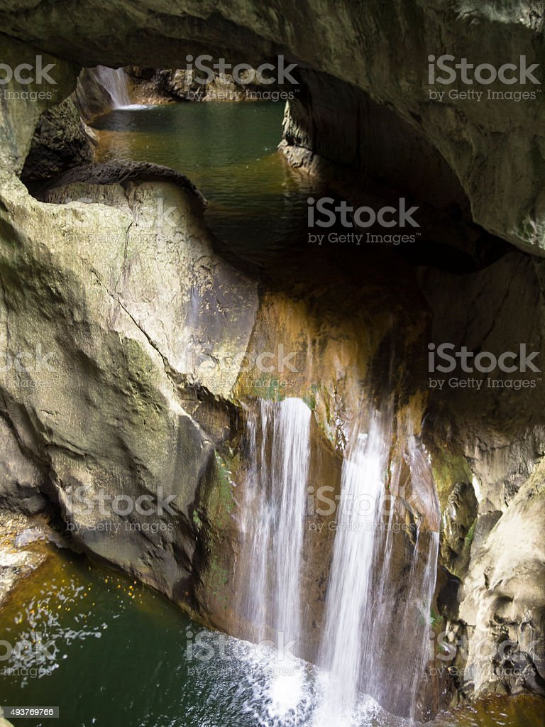 Detail at entrance The Skocjan Caves canyon with river, Slovenia stock photo