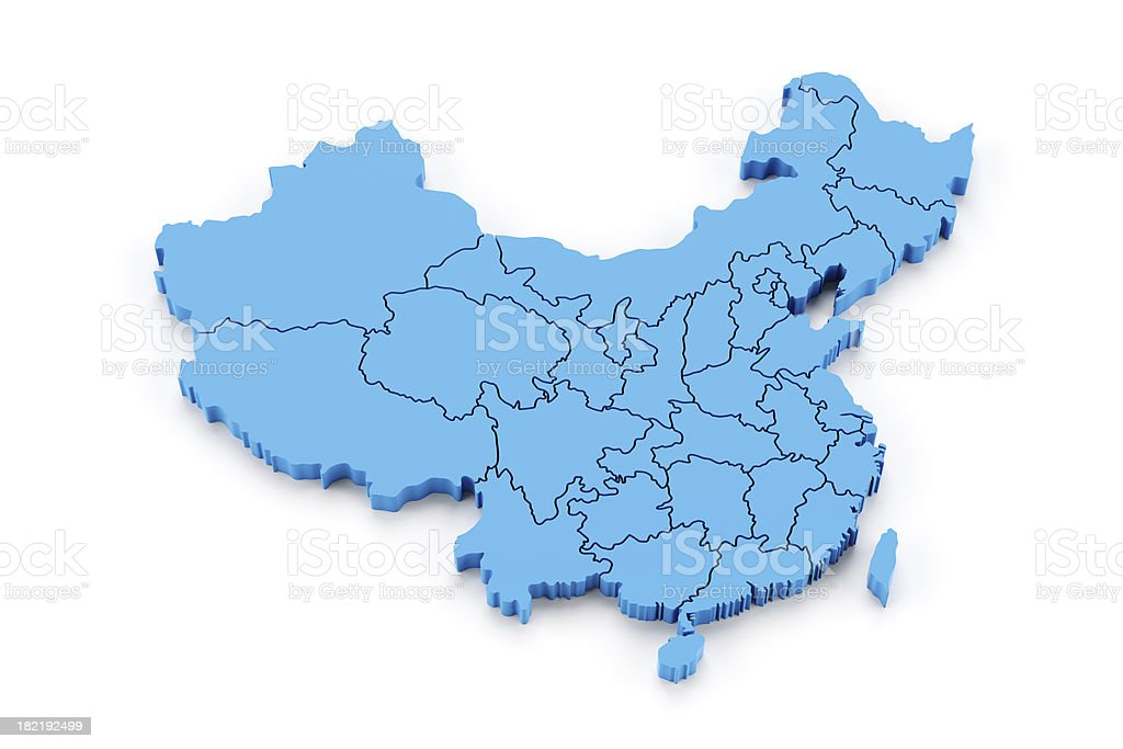 Detail China with provinces in separate pieces stock photo