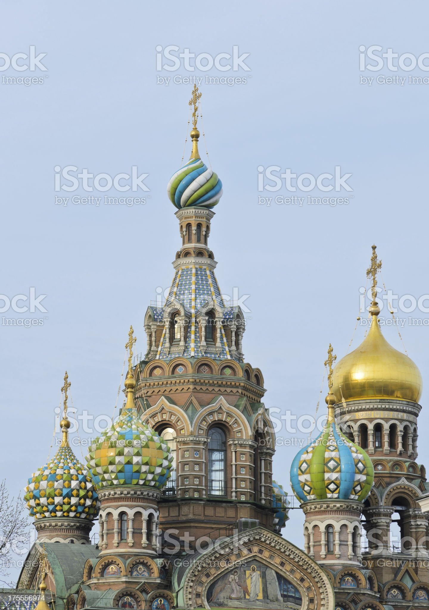 Detail decorated of Russian Orthodox domes royalty-free stock photo