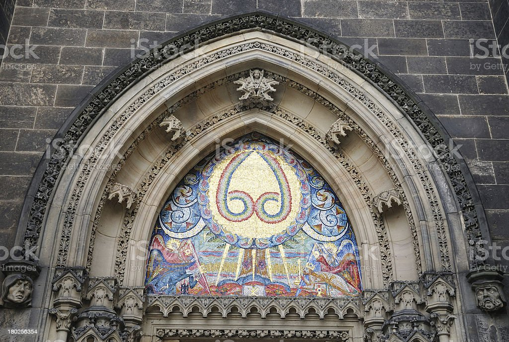 detail door of St. Peter and Paul church on Vysehrad royalty-free stock photo