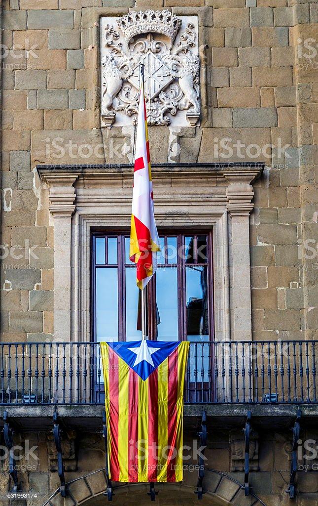 Detail Estelada flag on the town hall Vic, Catalonia Spain stock photo