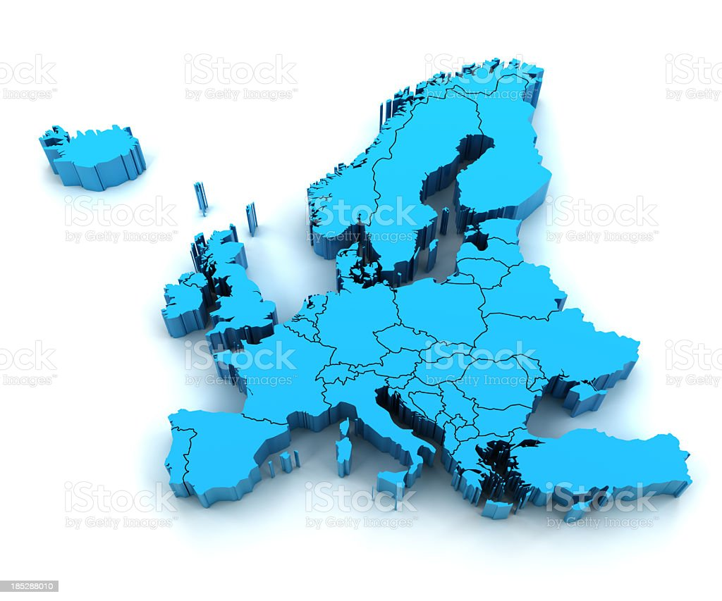 Detail Europe map with national borders royalty-free stock photo
