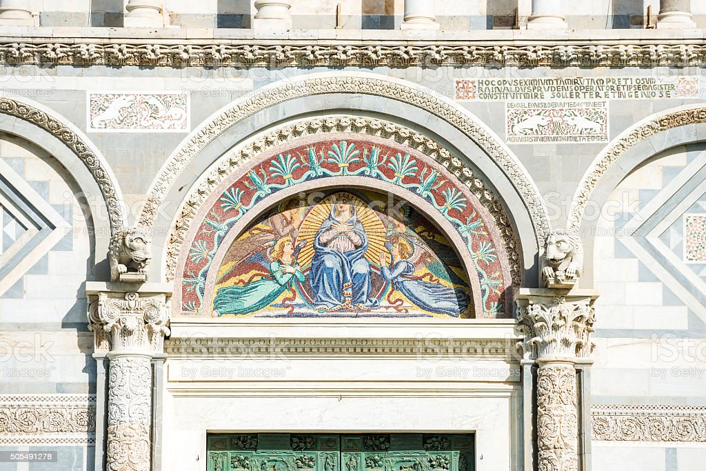 Detail facade cathedral Pisa stock photo