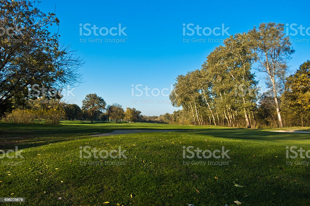 Detail from a golf course at autumn sunny day stock photo