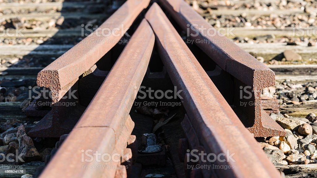 Detail from a old Railway swith track stock photo