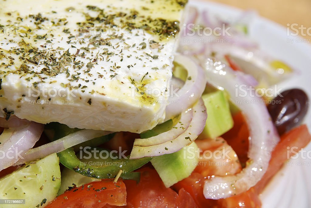 detail from a traditional greek salad royalty-free stock photo