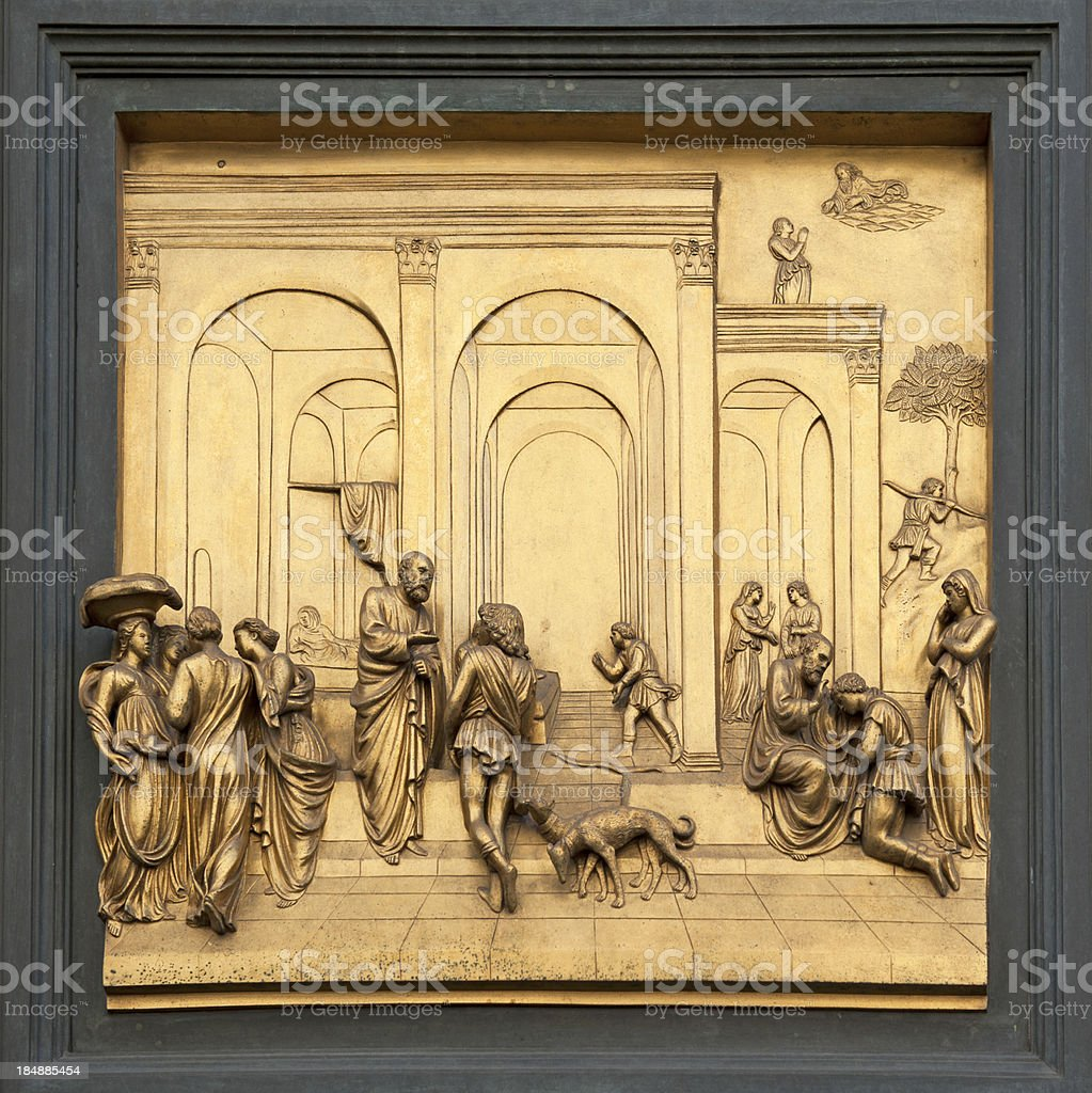 Detail from Baptistery door. stock photo