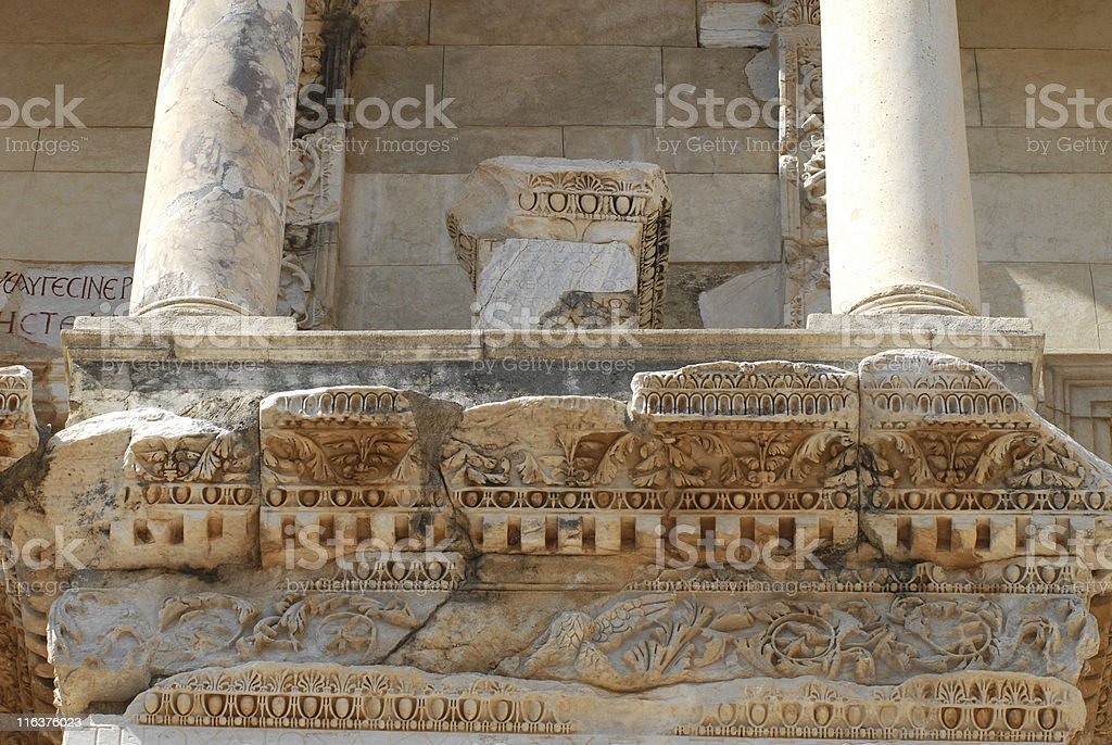 Detail from Celsus Library, Ephesus stock photo