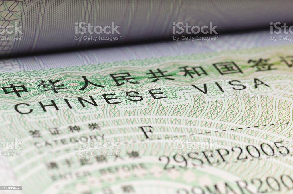 Detail from Chinese visa in passport stock photo