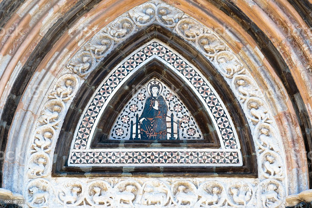 Detail from Messina Cathedral entry stock photo