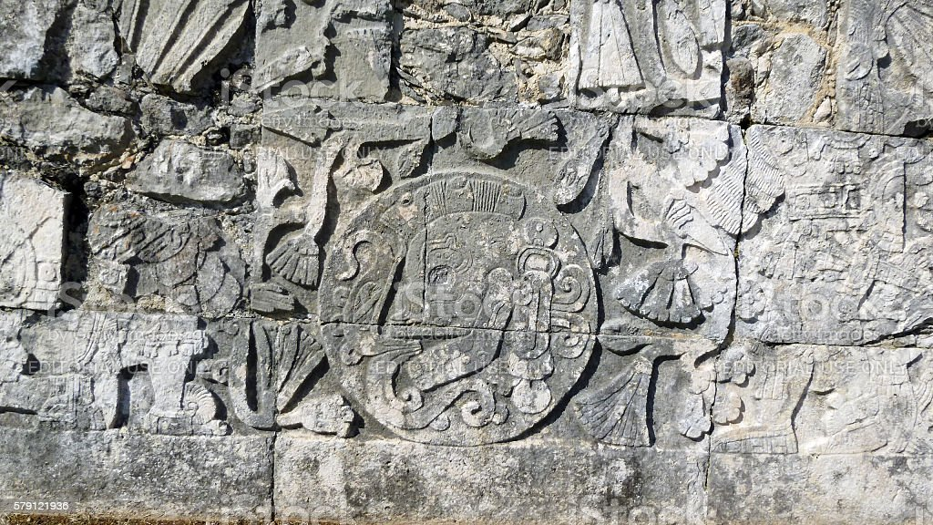 Detail from panel at Chichen Itza Great Ballcourt stock photo
