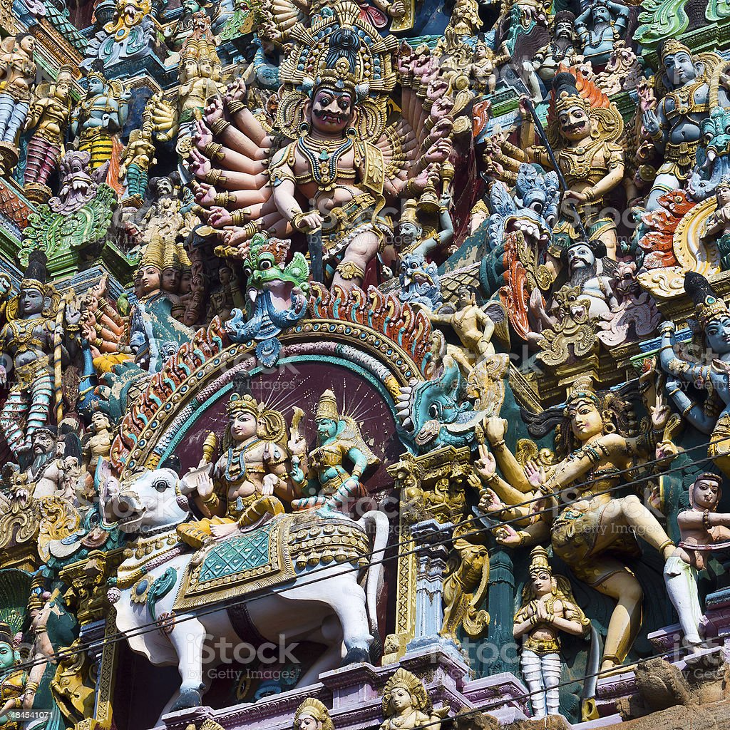 Detail From The Meenakshi Amman Temple In Madurai, India stock photo