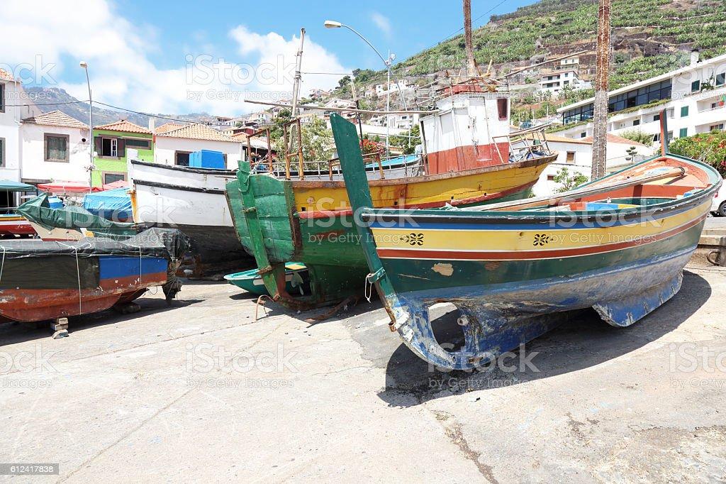 Detail from the port of Camara De Lobos stock photo
