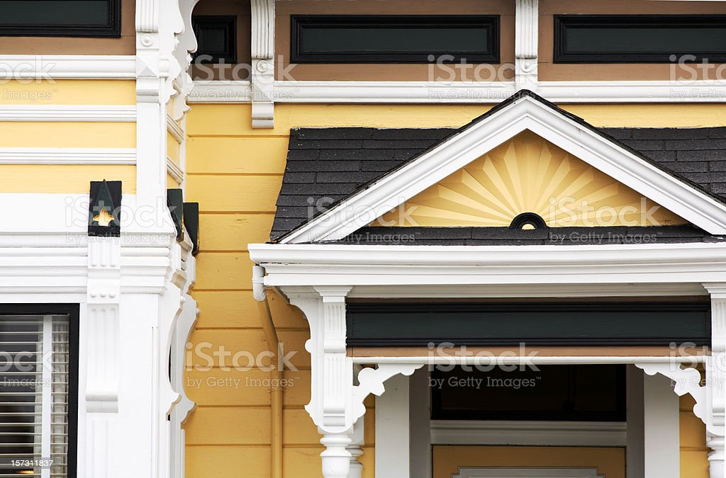 Detail from yellow Victorian house royalty-free stock photo