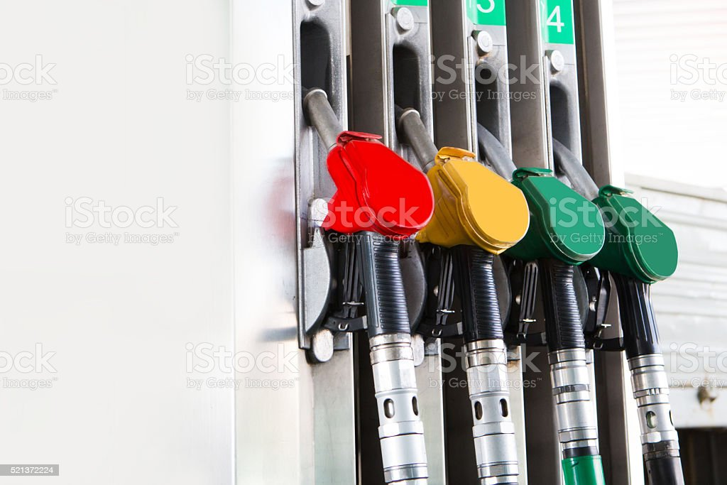 Detail fuel pump at a station stock photo