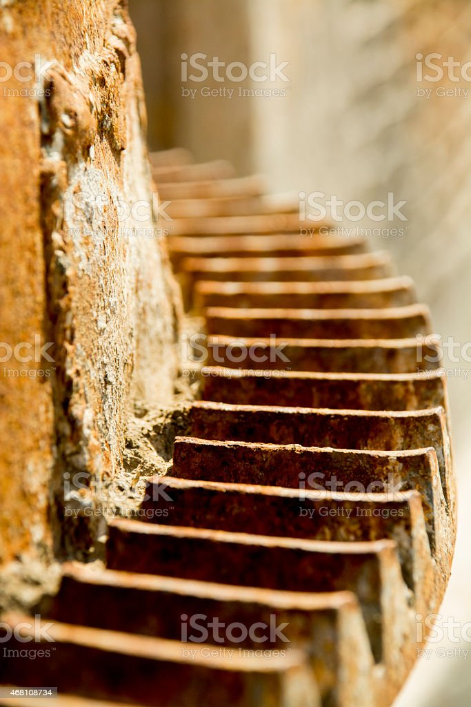 Detail gear of an old rusty cement mixer stock photo
