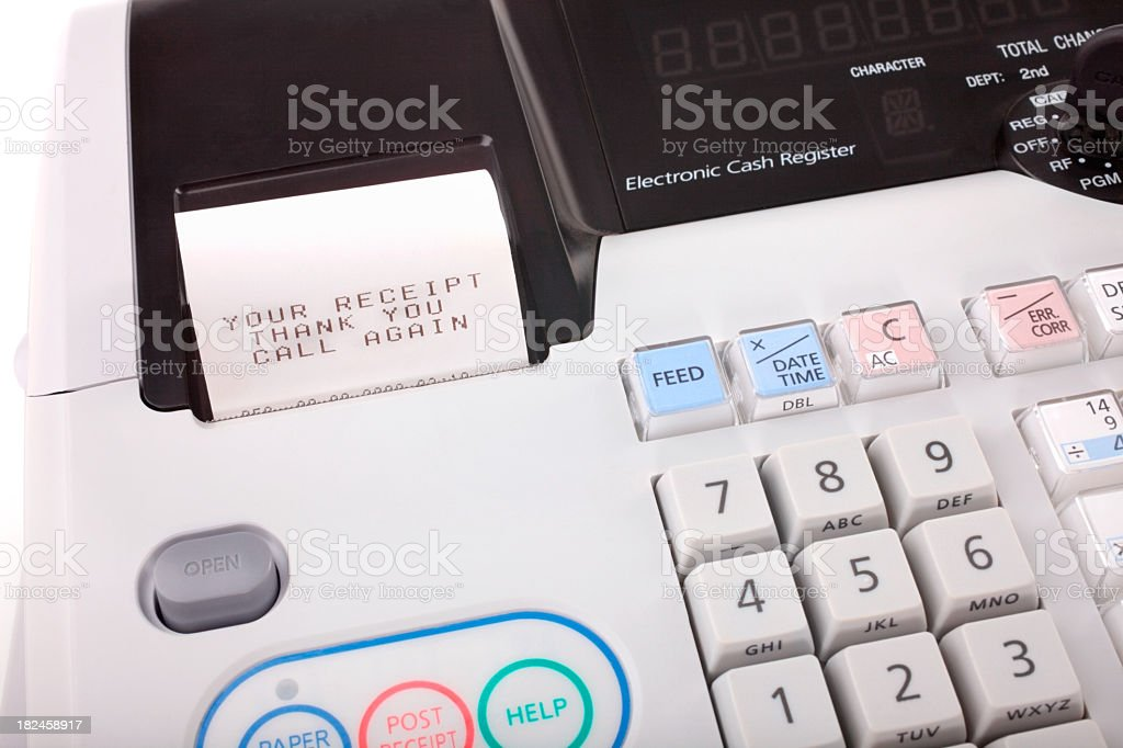 Detail image of cash register with receipt saying thank you stock photo
